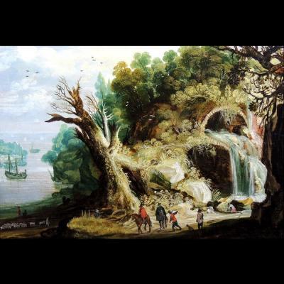 Paysage à la cascade - cercle de Joos de Momper (1564 – 1635)