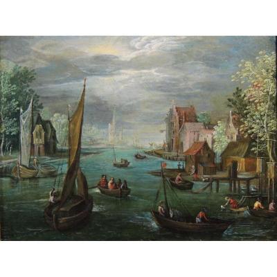 Disciple de Jan Brueghel le Jeune – Pêcheurs dans un paysage
