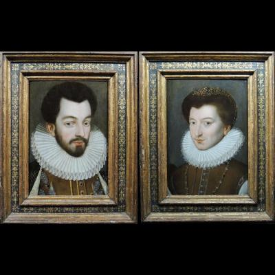 King Henri III And Paul Stuart Of Caussade - School Of François Clouet 16th Century