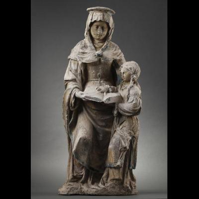 L'Education de la Vierge en pierre sculptée, Est de la France avant 1550