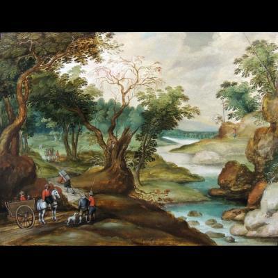 Paysage aux voyageurs – Ecole anversoise attribuée à Izaak van Oosten (1613 – 1661)
