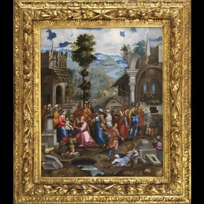Adoration des Mages – Ecole génoise, entourage de Battista Castello fin XVIème siècle.