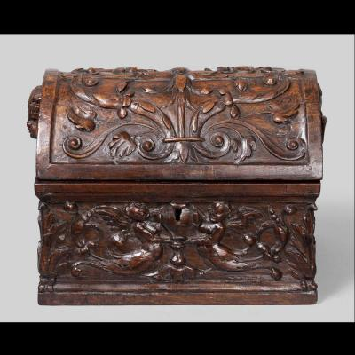 Box Walnut Carved Seventeenth Century