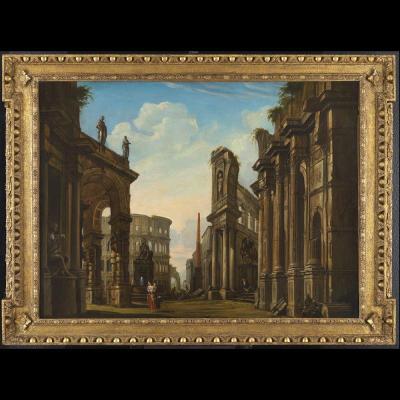 Great Architectural Roman Caprice - 18th Century Panini Follower