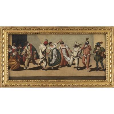 Scene Of The Commedia Dell'arte - Venetian School Of The 18th Century