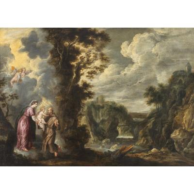 The Virgin Presenting The Child Jesus To St-françois - Guilliam Forchondt The Elder (1608 - 1678)