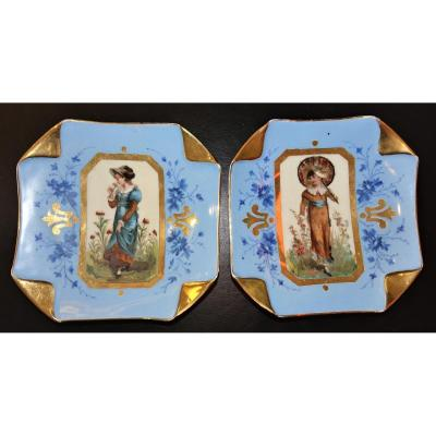 Limoges Two Plates Porcelain 19 Th