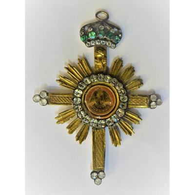 Franc Masonry Jewelry Rose Cross Knight In Vermeil Late 18th.