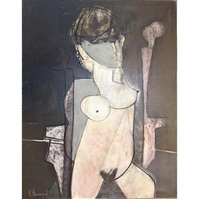 """Painting """"nude"""" By Karl Heerrmans 1979"""
