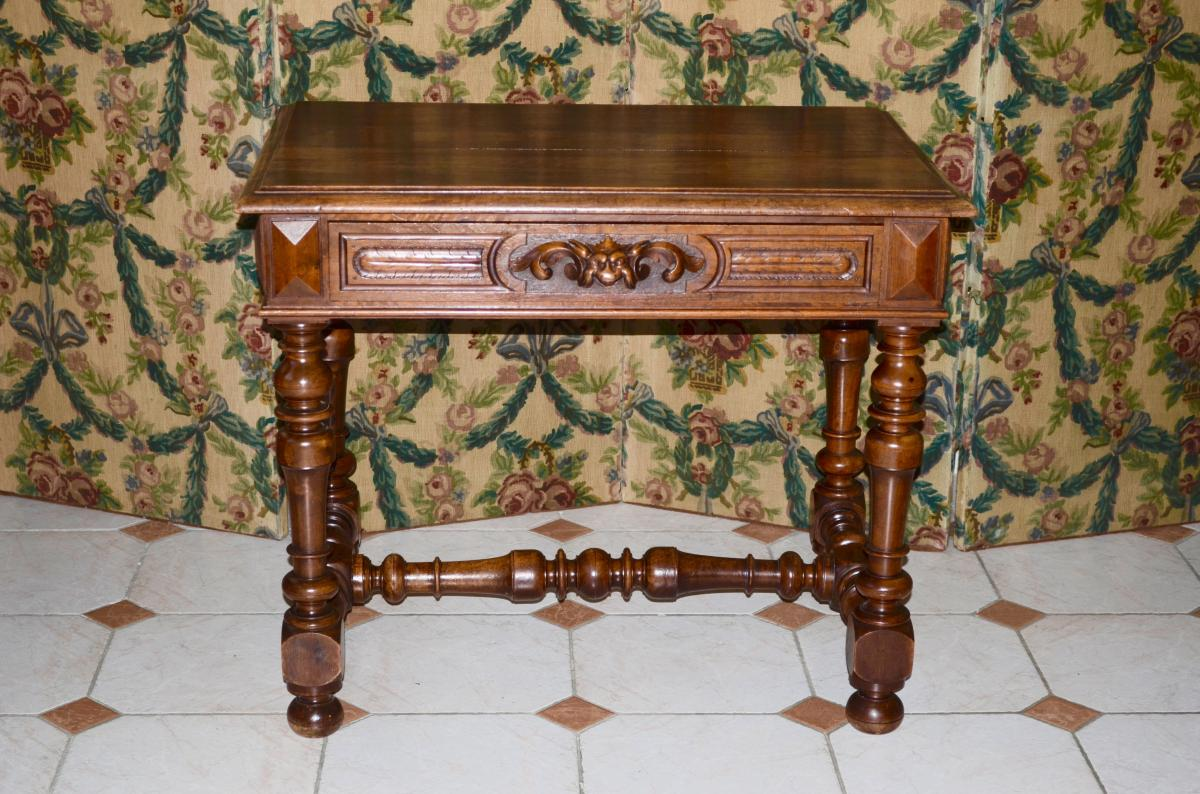 Table / Desk In Walnut 19th Century