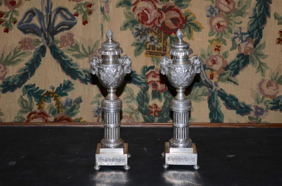 Pair Of Candlesticks In Sterling Silver XIXth Century