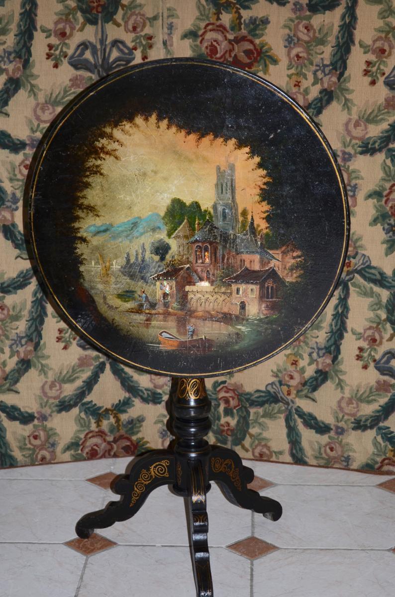 Guéridon En Bois Peint époque Napoléon III