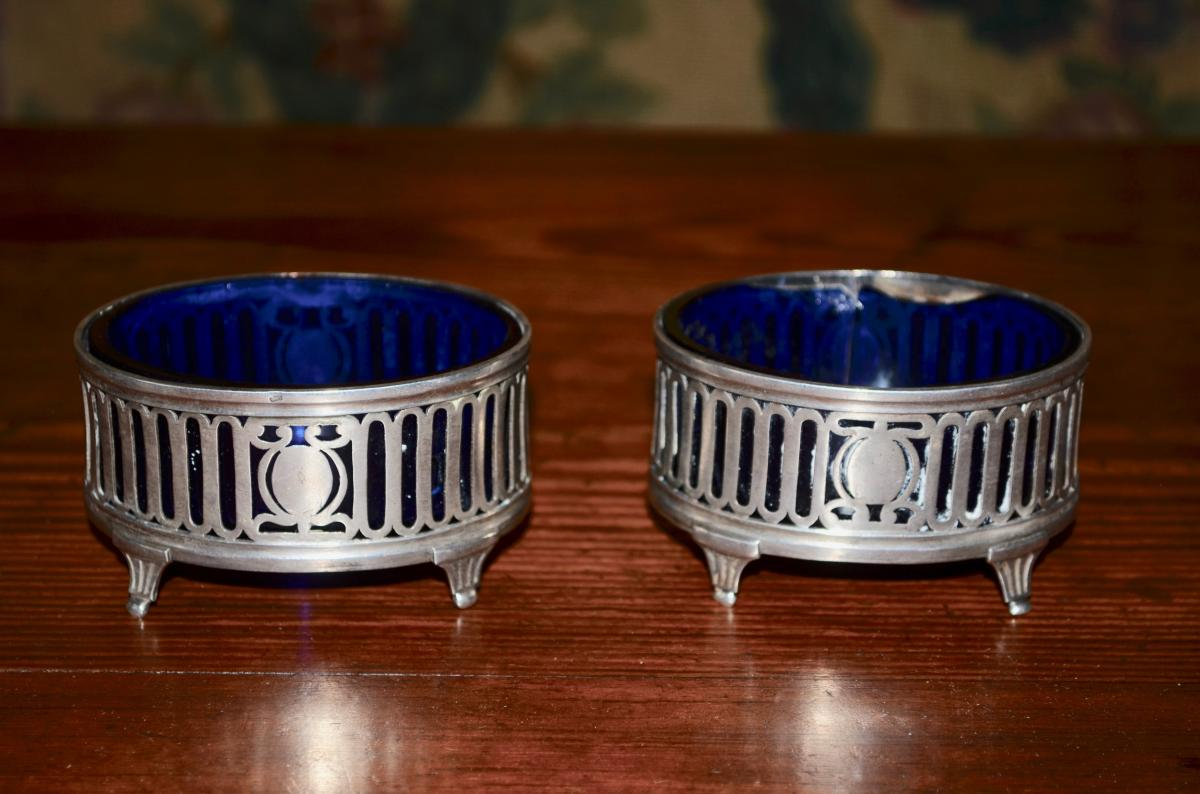 Pair Of Salerons In Sterling Silver 18th Century