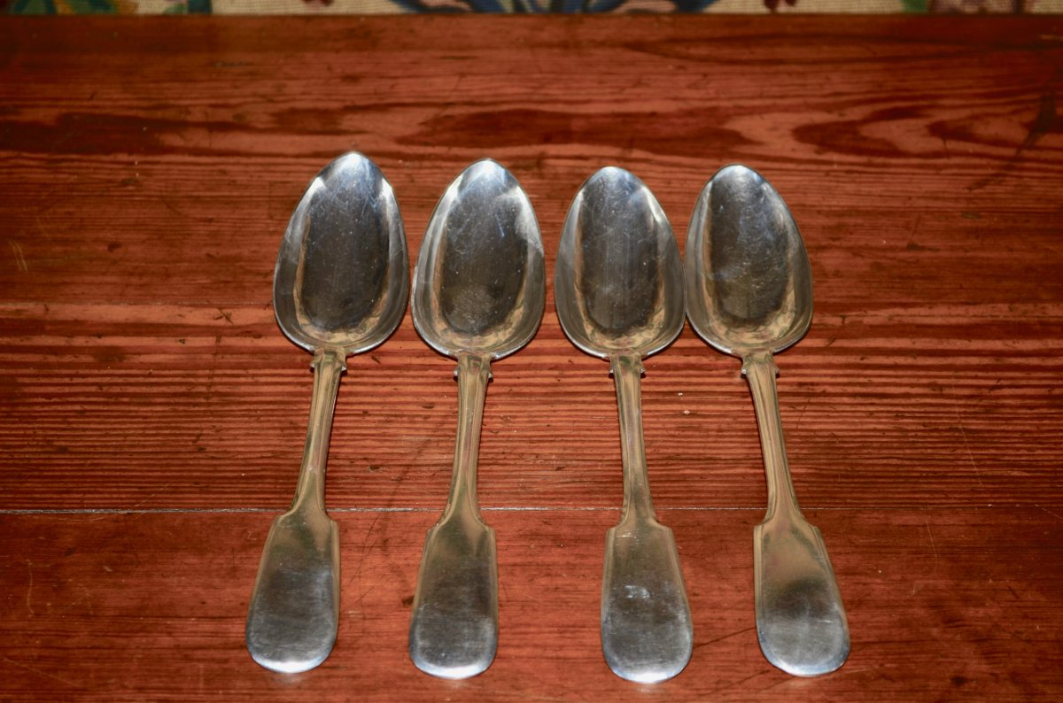 Spoons In Russian Sterling Silver, Saint-persbourg, Middle 19th Century