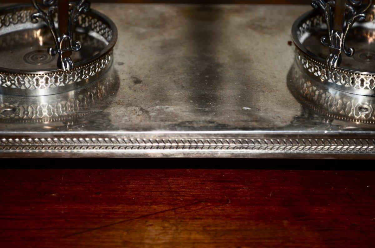 Oil Cruet / Vinegar Plant In Sterling Silver Late 18th Century-photo-1