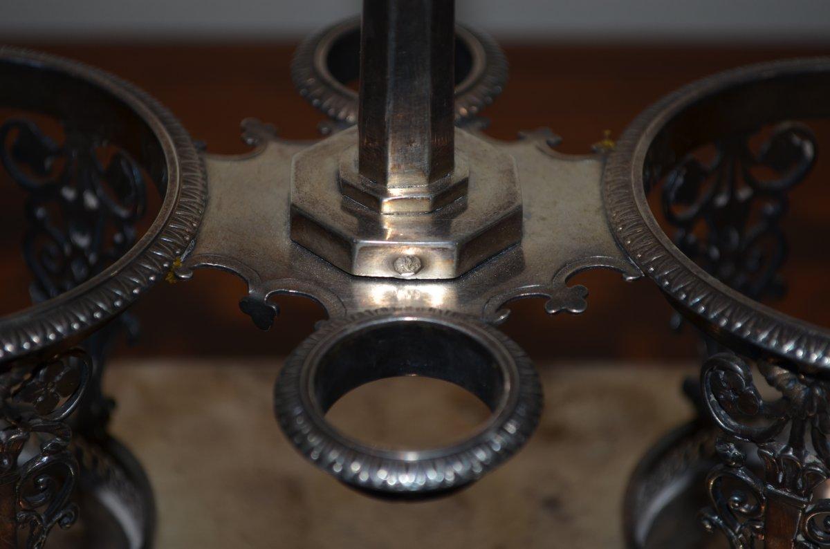 Oil Cruet / Vinegar Plant In Sterling Silver Late 18th Century-photo-7