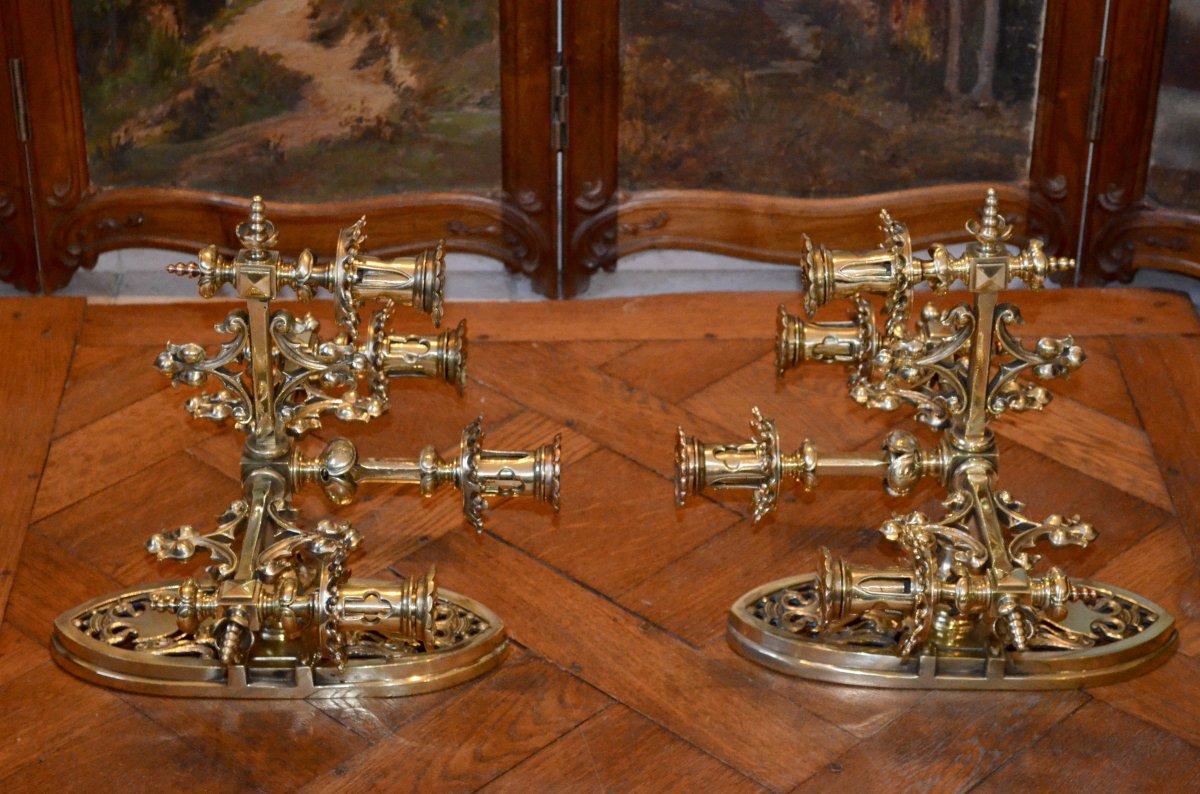 Paire d'Appliques En Bronze  Doré De Style Néogothique époque 19eme Siècle -photo-1