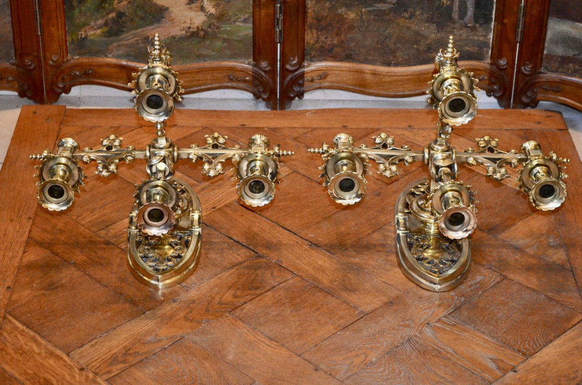 Paire d'Appliques En Bronze  Doré De Style Néogothique époque 19eme Siècle -photo-2