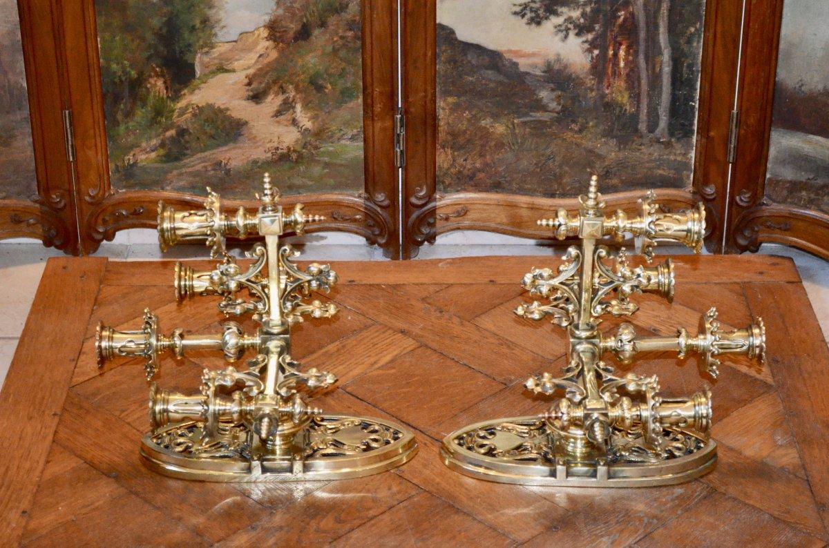 Paire d'Appliques En Bronze  Doré De Style Néogothique époque 19eme Siècle -photo-3