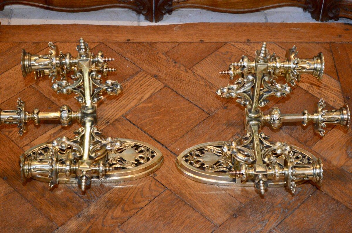 Paire d'Appliques En Bronze  Doré De Style Néogothique époque 19eme Siècle -photo-4