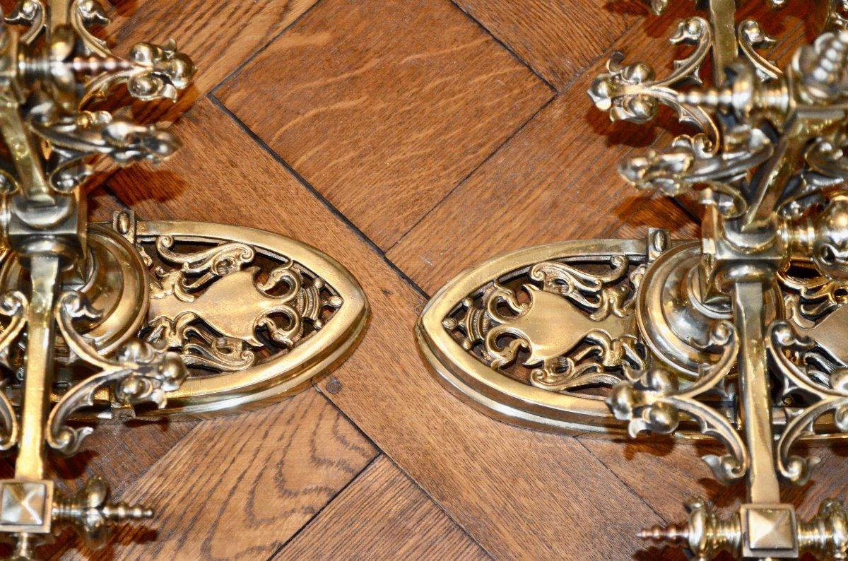 Paire d'Appliques En Bronze  Doré De Style Néogothique époque 19eme Siècle -photo-5