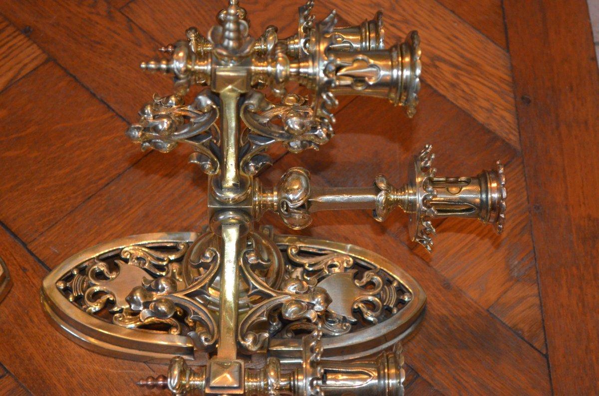 Paire d'Appliques En Bronze  Doré De Style Néogothique époque 19eme Siècle -photo-6