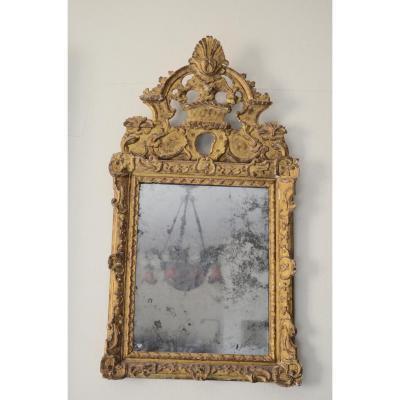 Miroir En Bois Doré d'époque Régence