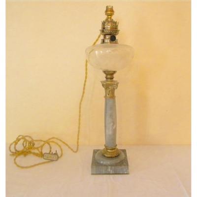 Lampe Bronze Doré,marbre Bleu Et Cristal,19eme Siècle