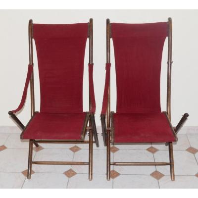 Pair Of Folding Long Chairs 19th Century