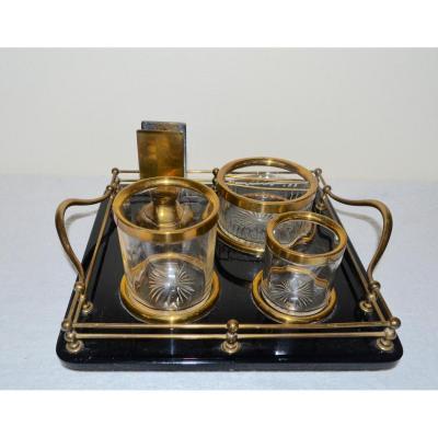 Ancien Nécessaire De Fumeur en cristal,opaline et laiton