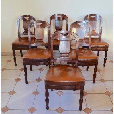 Suite De 6 Chaises En Acajou d'époque Début 19eme Siècle