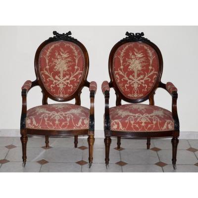 Paire De Fauteuils A Médaillon d'époque Napoléon III En Palissandre