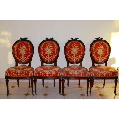 Suite De 4 Chaises En Palissandre époque Napoléon III