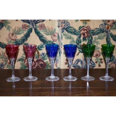 6 Verres A Vin De Couleur En Cristal De Baccarat