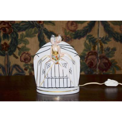 lampe/Veilleuse En Porcelaine d'époque Art Déco