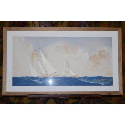 "Gouache De Leon Haffner ""the Sailboats"""