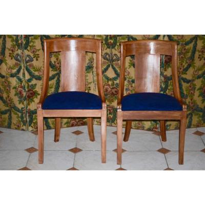 Paire De Chaises Gondole d'époque Restauration En Merisier