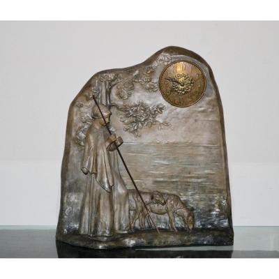 Goldscheider,pendule En Terre Cuite époque 19eme Siècle