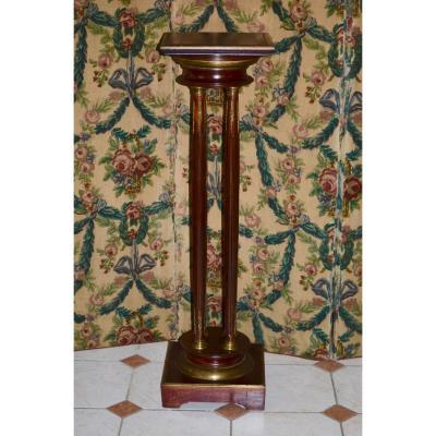 Sellette/colonne En Acajou Et Bronze époque 19eme Siècle
