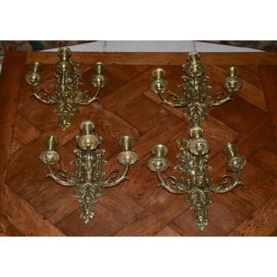 Suite De 4 Appliques En Bronze Doré époque Napoléon III