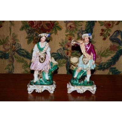 Couple De Personnages En Porcelaine Vieux Paris 19eme Siècle