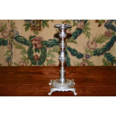 Candlestick In Sterling Silver Portugal Beginning XIXth Century