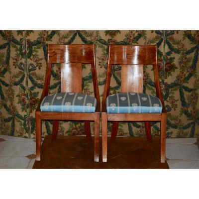Paire De Chaises Gondole d'époque Restauration