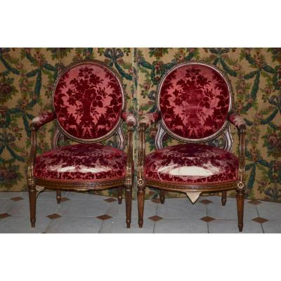 Pair Of Large Armchairs Medallion Louis XVI