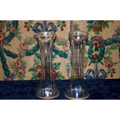 Paire De Vases En Cristal Et Bronze Doré époque Napoléon III