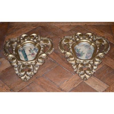 Pair Of Mirrors In Golden Wood XIXth Century