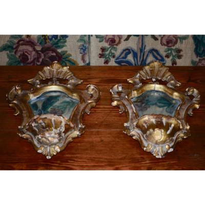 Pair Of Mirrors / Clams In Golden Wood End Time 18th / Early 19th Century