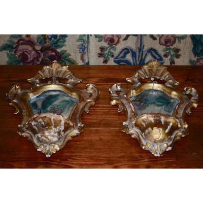 Paire De Miroirs/bénitiers En Bois Doré époque Fin 18eme/début 19eme Siècle