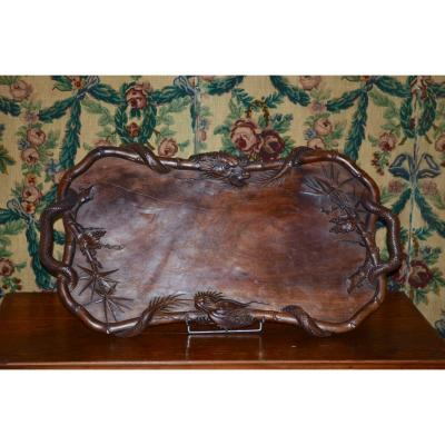 Large Tray In Exotic Wood Time End 19th Century