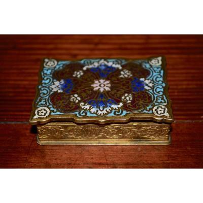 Boite A Timbres En Bronze émaillé Fin 19eme Siècle